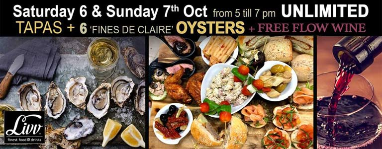 Unlimited Tapas, Oysters & Free Flow Wine at Livv