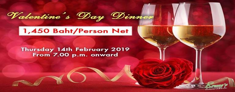 Valentine's Day Dinner at Bruno's Restaurant & Wine Bar