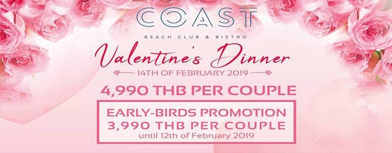 Valentine's Romantic Dinner at Coast Beach Club & Bistro