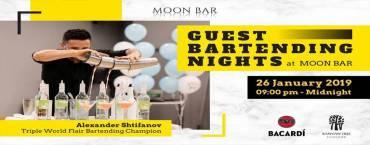 Triple World Flair Bartending Champion at Moon Bar