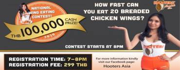 Hooters National Wing Eating Contest Round #5 at Hooters Pattaya